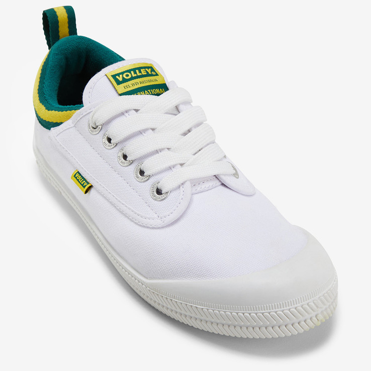 Volley UnisexAdultInternational Low White/Green/Gold   4