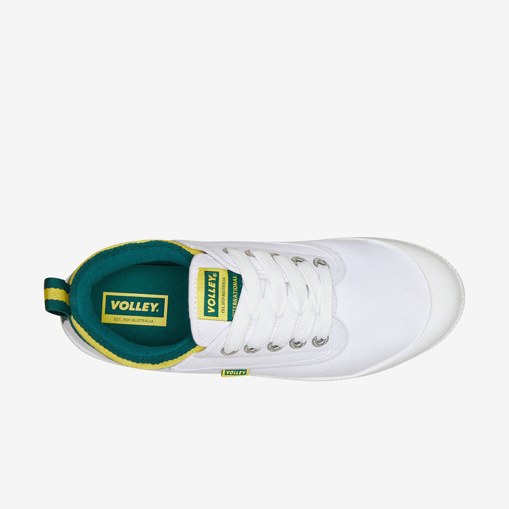 Volley UnisexAdultInternational Low White/Green/Gold   5