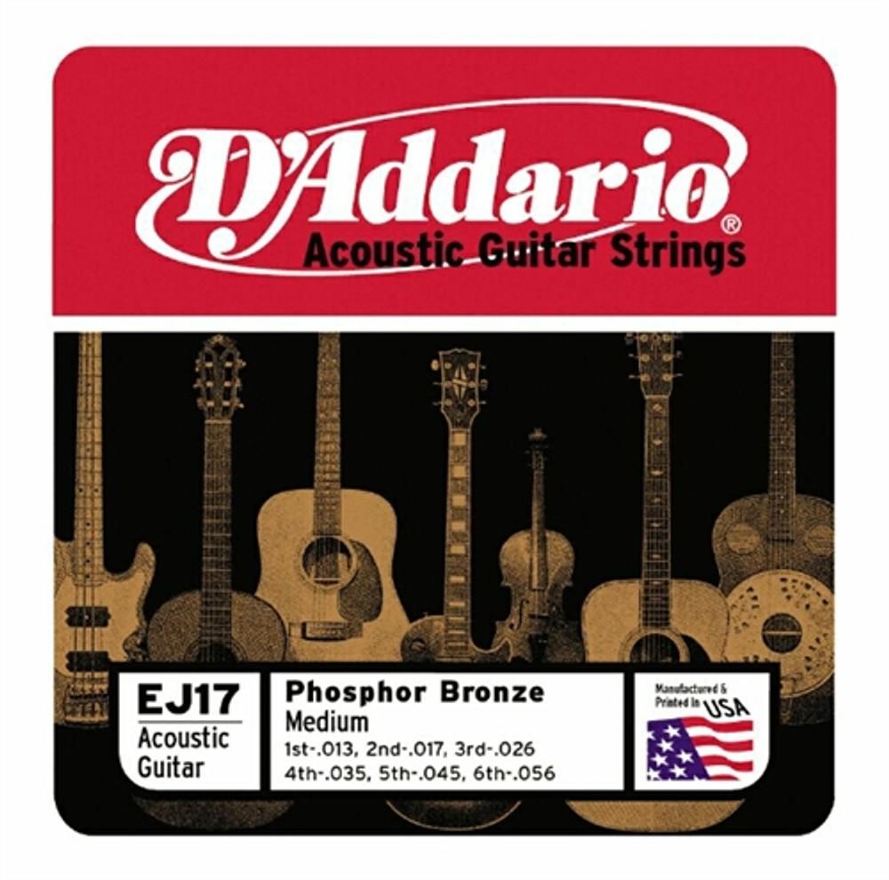 D/'addario Phosphor Bronze Acoustic Guitar Medium EJ17 Strings