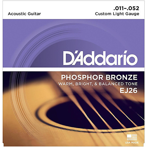 D'Addario Phosphor Bronze Acoustic Guitar Strings - Custom Light