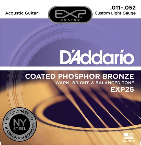 D'Addario EXP26 Coated Phosphor Bronze Acoustic Guitar Strings - Custom Light