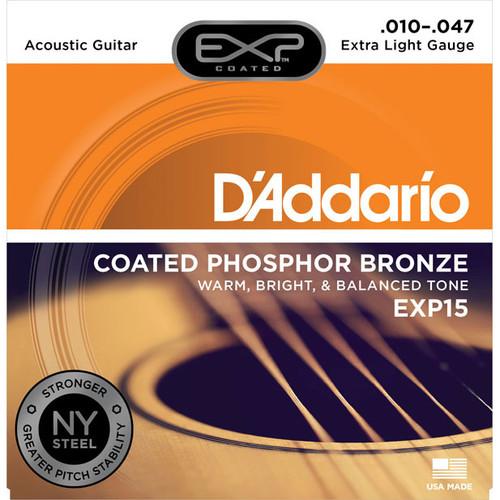 D'Addario EXP Coated Phosphor Bronze Strings - Extra Light