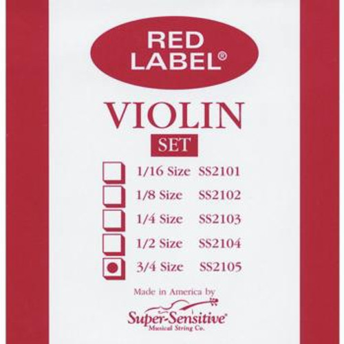 Super-Sensitive Red Label Violin Strings - 3/4 Size