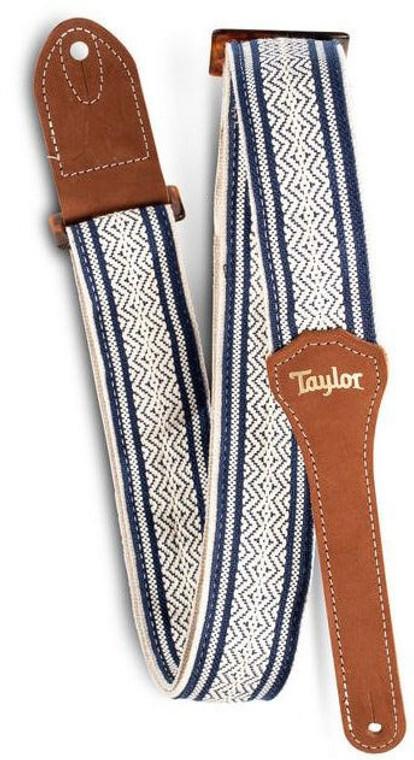 """Taylor 2"""" Jacquard Cotton Strap - White/Blue"""