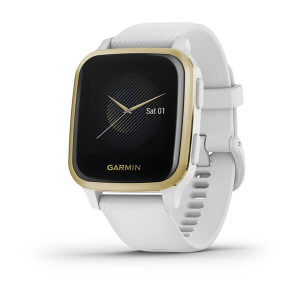 Garmin Venu Sq – Light Gold Aluminium Bezel - White Case & Silicone Band (010-02427-11)