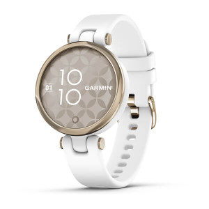 Garmin Lily - Sport Edition, Cream Gold Bezel with White Case and Silicone Band (010-02384-00)