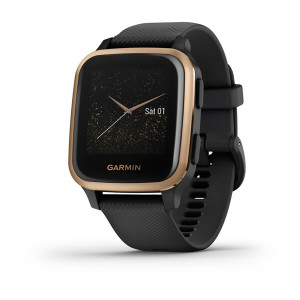 Garmin Venu Sq – Music Edition - Rose Gold Aluminum Bezel with Black Case & Silicone Band (010-02426-15)