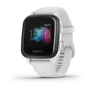 Venu Sq – Music Edition - Slate Aluminum Bezel with White Case & Silicone Band (010-02426-14)