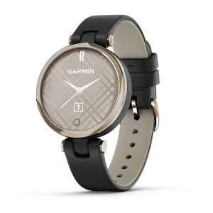 Garmin Lily - Classic Edition, Cream Gold Bezel with Black Case and Italian Leather Band (010-02384-A1)