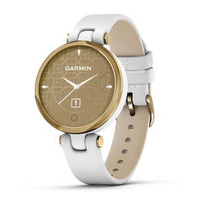 Garmin Lily - Classic Edition, Light Gold Bezel with White Case and Italian Leather Band (010-02384-A3)