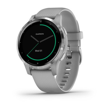 Garmin Vivoactive 4S Smart Watch (Powder Gray with Silver Hardware) (010-02172-02)