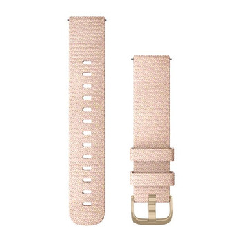 Garmin Quick Release 20mm Band - Blush Pink Woven Nylon with Light Gold Hardware