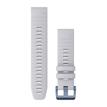 QuickFit 22 Watch Band Whitestone Silicone with Mineral Blue Hardware