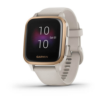 Garmin Venu Sq – Music Edition - Rose Gold Aluminium Bezel - Light Sand Case & Silicone Band