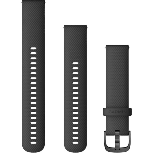 Garmin Quick Release Band (20mm, Black Silicone with Slate Hardware) 010-12932-11