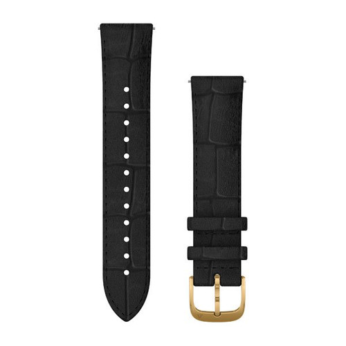 Quick Release 20mm Band - Black Italian Leather with 24K Gold PVD Hardware (010-12924-22)