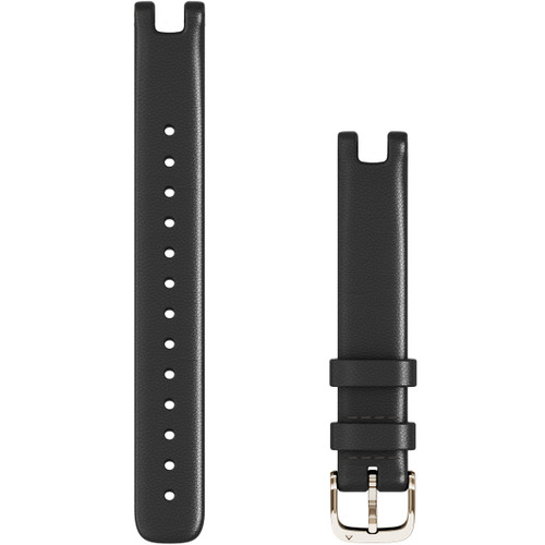 Replacement Garmin Lily Band (14 mm) Black Italian Leather with Cream Gold Hardware (010-13068-A1)