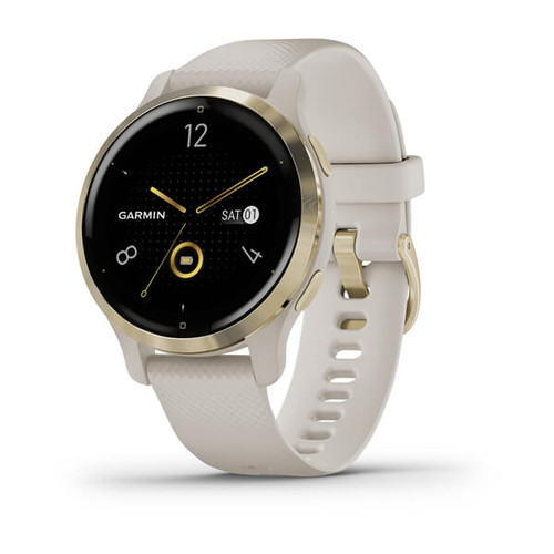 Garmin Venu 2S - Light Gold Stainless Steel Bezel with Light Sand Case and Silicone Band (010-02429-11)