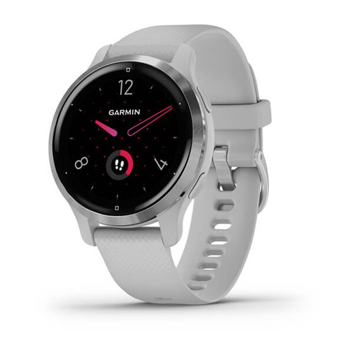 Garmin Venu 2S - Silver Stainless Steel Bezel with Mist Grey Case and Silicone Band (010-02429-12)