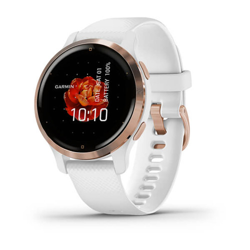 Garmin Venu 2S - Rose Gold Stainless Steel Bezel with White Case and Silicone Band (010-02429-13)