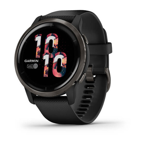 Garmin Venu 2 - Slate Stainless Steel Bezel with Black Case and Silicone Band (010-02430-11)