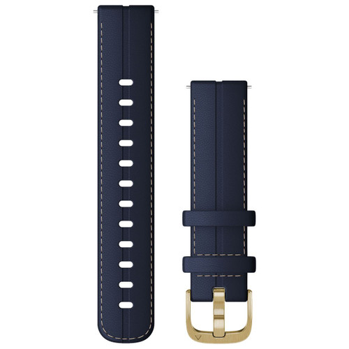 Garmin Quick Release Bands (18 mm), Navy Leather with Light Gold Hardware (010-12932-08)