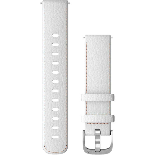 Garmin Quick Release Bands (18 mm), White Leather with Silver Hardware (010-12932-09)