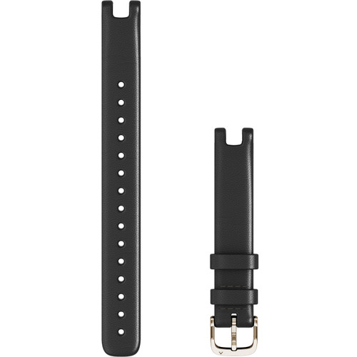 Large Garmin Lily Band (14 mm) Black Italian Leather with Cream Gold Hardware (010-13068-A5)