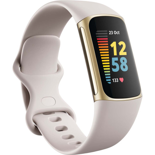 Fitbit Charge 5 Fitness & Health Tracker (Lunar White / Soft Gold Stainless Steel)