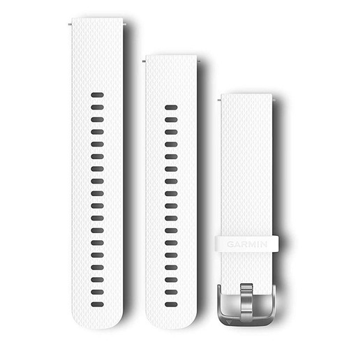 Quick Release Band, White Silicone Band with Silver Hardware
