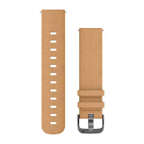 Garmin Quick Release 20mm Band - Tan Suede Band with Slate Hardware (010-12691-04)