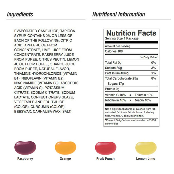 Jelly Belly Sports Beans - Nutritional Facts
