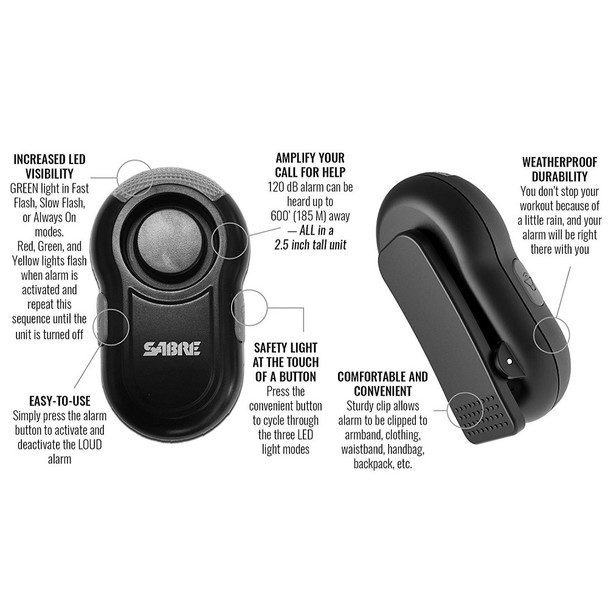 Safety Personal Alarm with Clip & LED Light