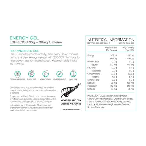 PURE Energy Gel 35g - Espresso + 30mg caffeine