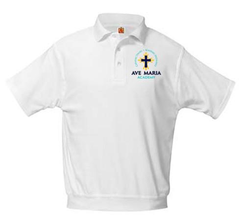 Banded Bottom Knit Polo Short Sleeve-AMA
