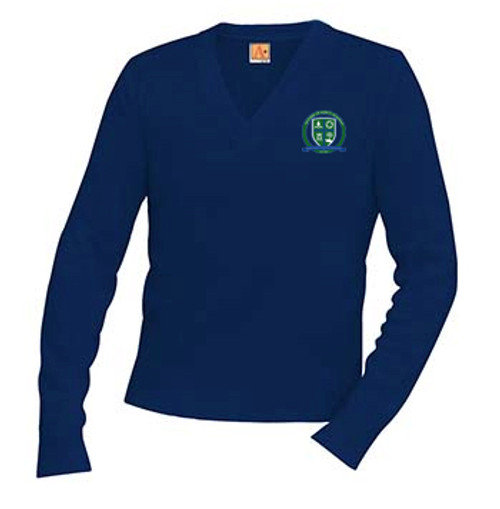 Classic V-Neck Long Sleeve Pullover-MMA