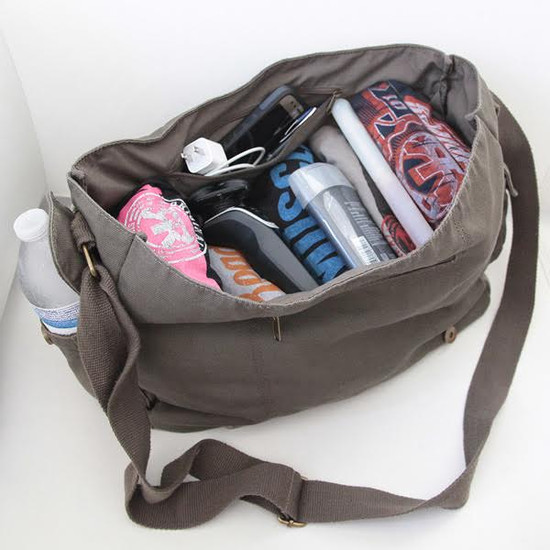 Lots of stuff will fit in this bag...it's great for the beach!