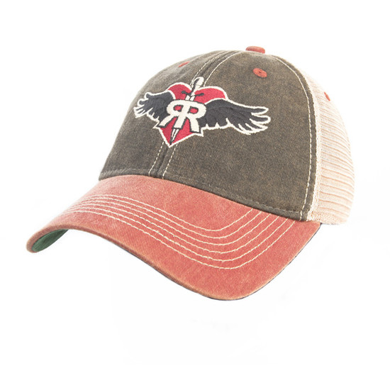 Ruff Riders' Vintage Style Trucker hat- Red/ Dark Blue with mesh back (adjustable) LEGACY
