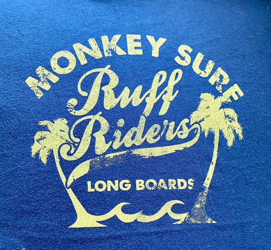 Ruff Riders MONKEY SURF Tee (RR Yellow on Navy)