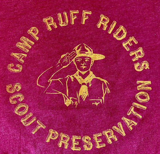 Camp Ruff Tee (burnt RR gold on Cardinal)