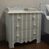 Harry's Bedside Table-blue gray and french white stripe