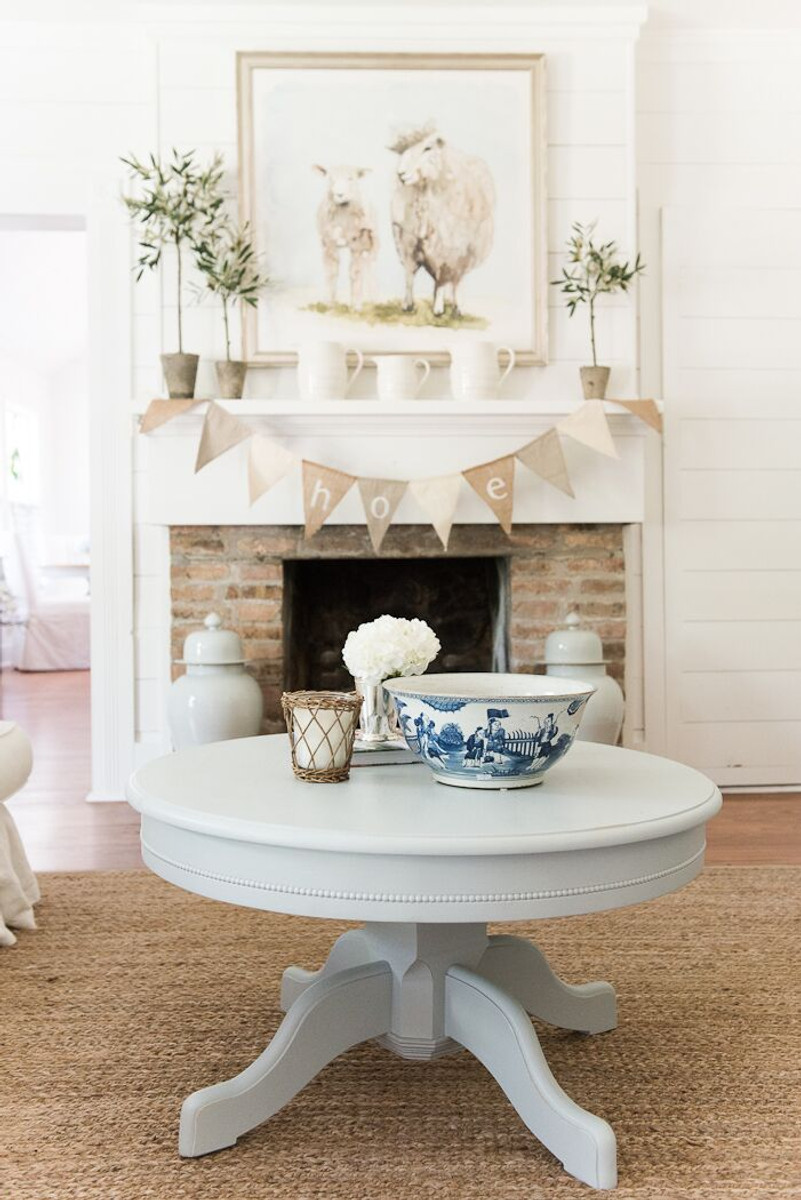 English Farmhouse Pedestal Coffee Table blue gray