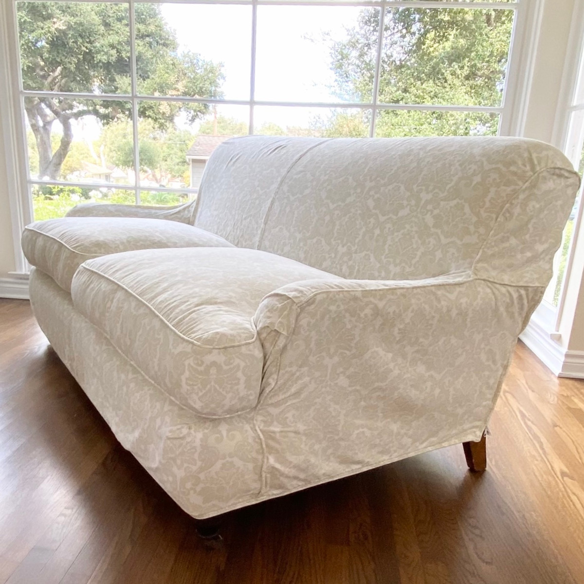 English Roll-Arm Slip Covered Sofa
