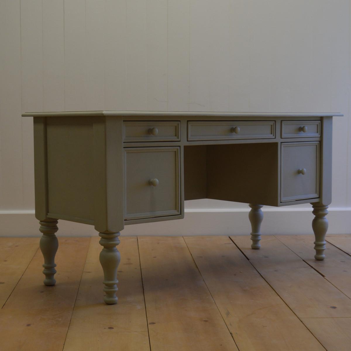 English Farmhouse Library Desk - Blue Gray