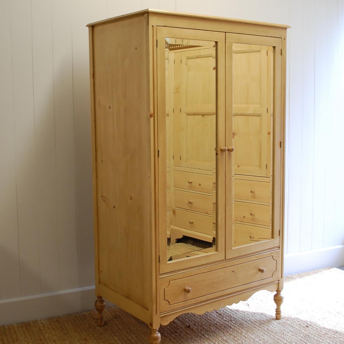 Eloise Mirrored Armoire- English Pine