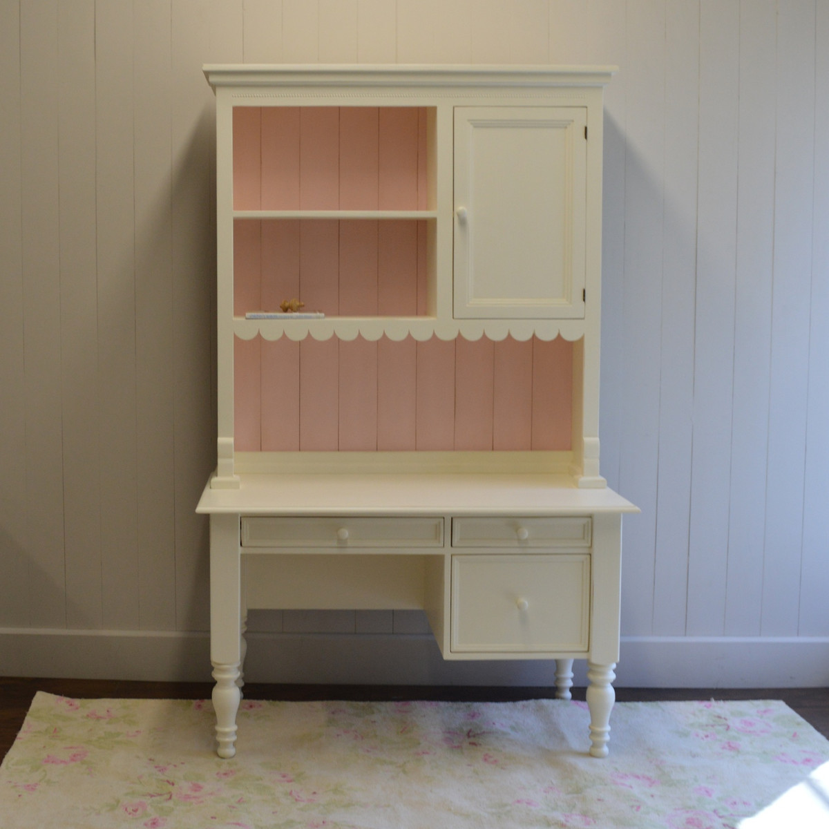 Emma's Cottage Desk with Hutch - french white with pink back slats