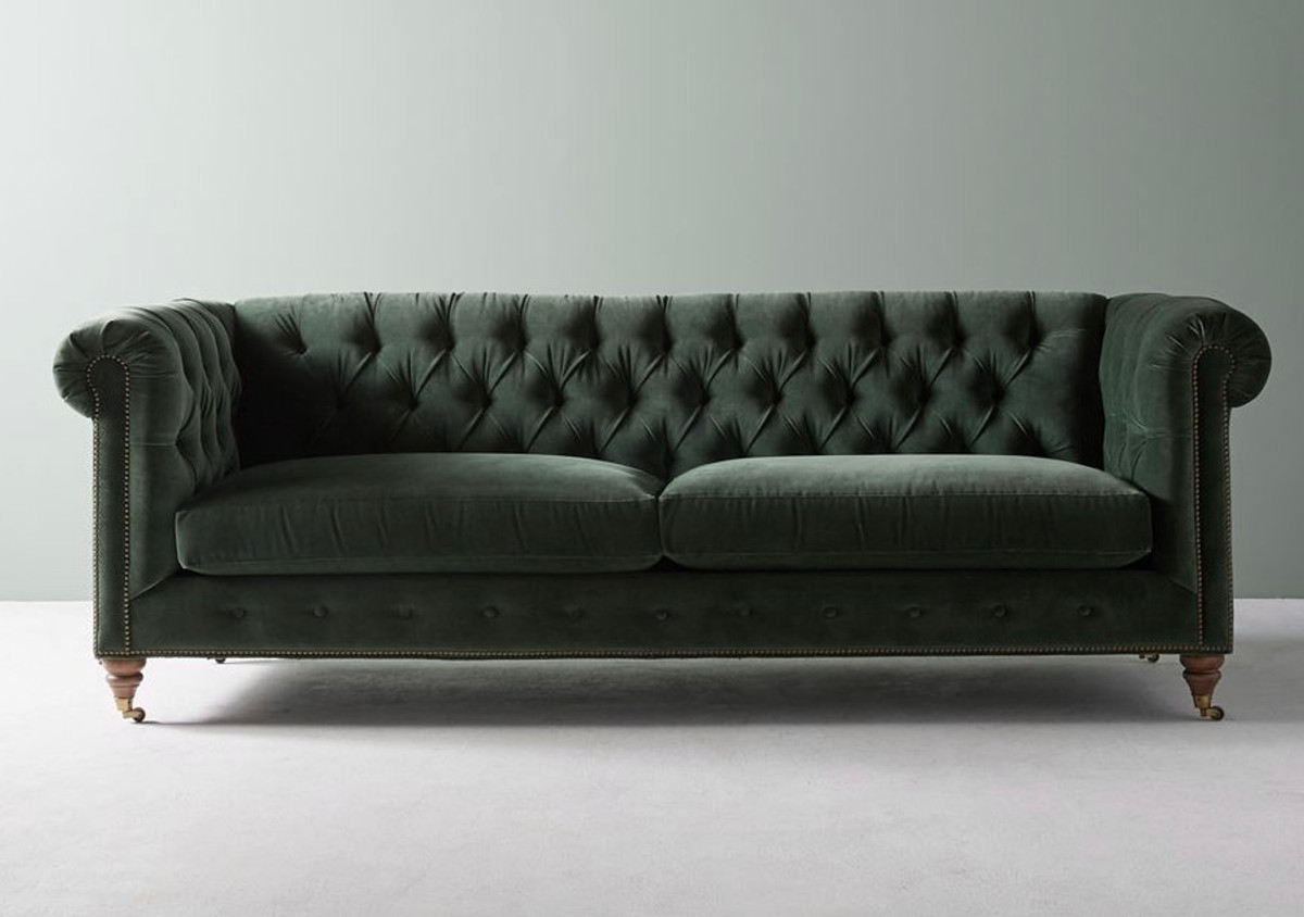 Classic English Chesterfield in vintage velvet