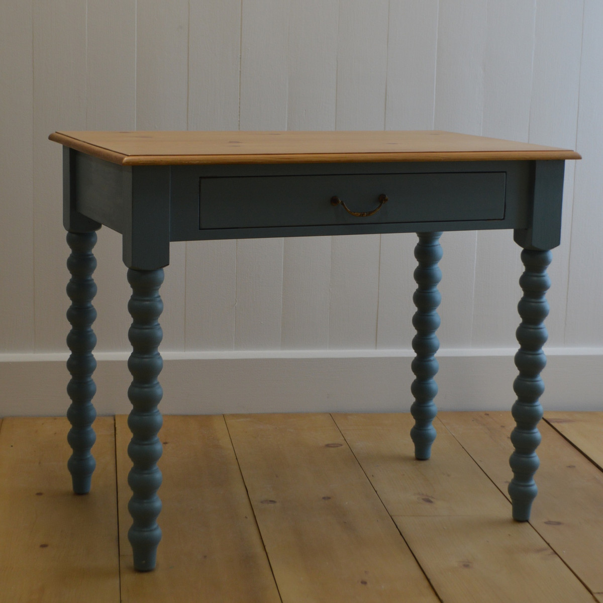 Spindle Writing Table - Faded Teal with English Pine Top