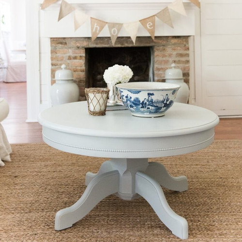 English Farmhouse Pedestal Coffee Table blue gray