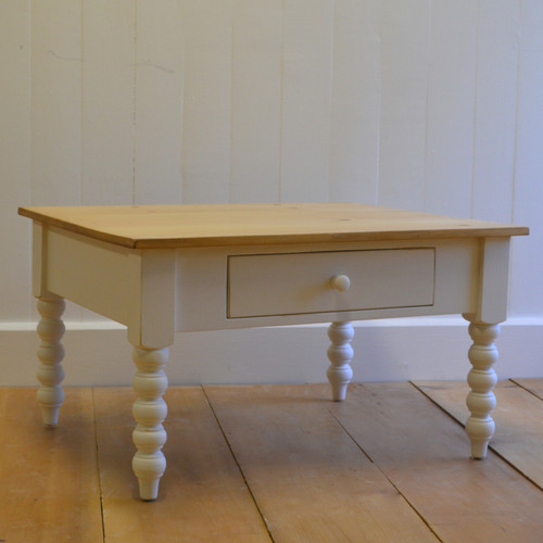 Farmhouse Spindle Coffee Table - white with english pine